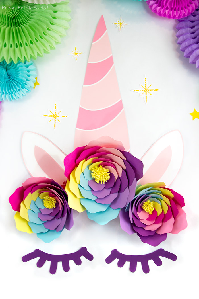Truly Magical Unicorn Birthday Party Decorations DIY - By Press Print Party! Giant Unicorn horn