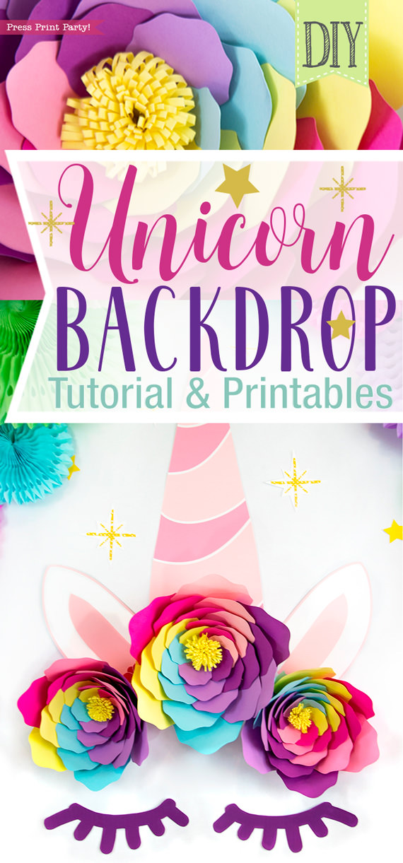 DIY Unicorn backdrop with tutorial and printables. Large unicorn horn with colorful paper flowers and sleepy eyes - by Press Print Party!