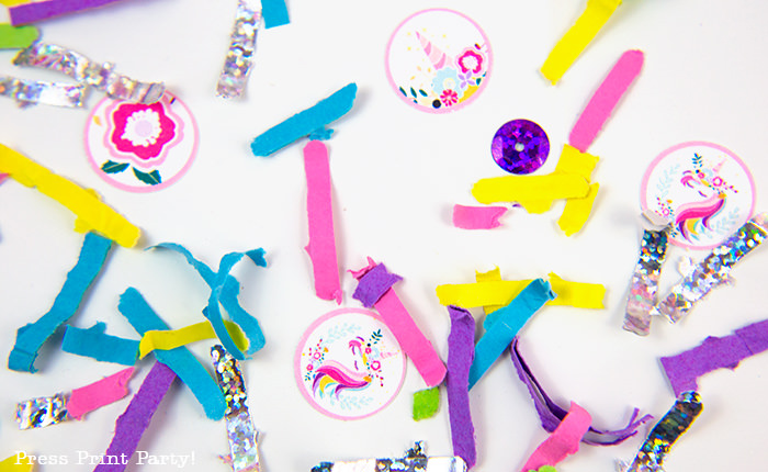 Truly Magical Unicorn Birthday Party Decorations DIY - By Press Print Party! confetti