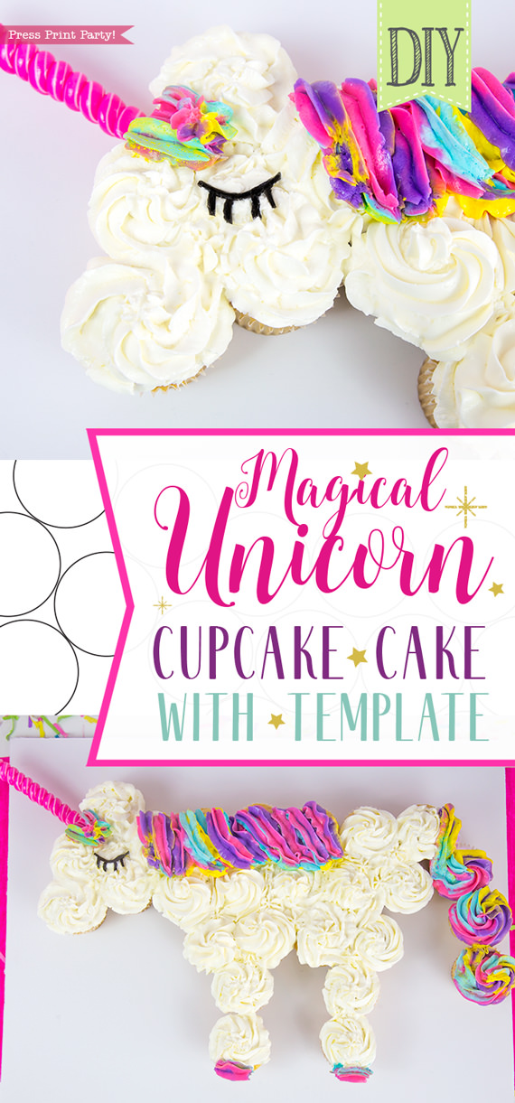 Unicorn cupcake cake DIY - Press Print Party!