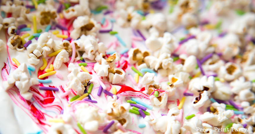 White chocolate bark with popcorn and sprinkles