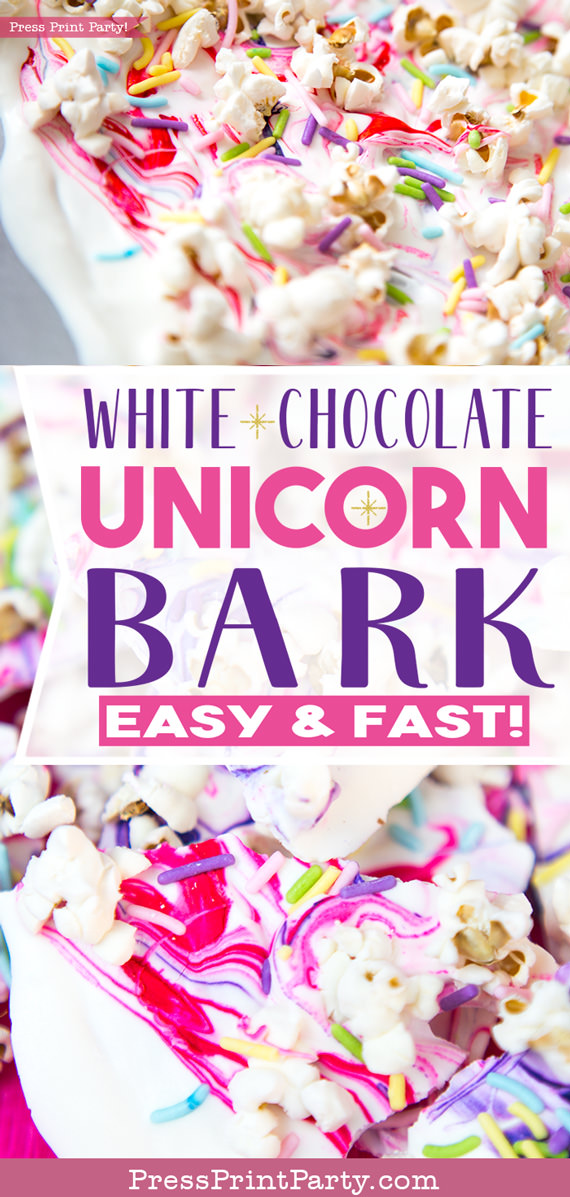 Colage picture of white chocolate unicorn bark