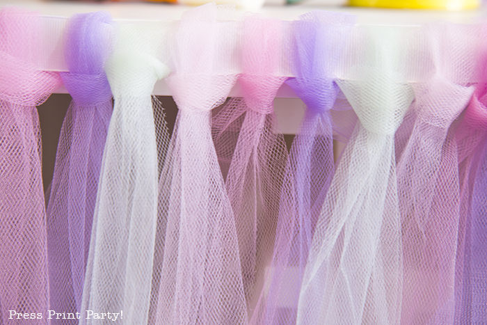 Close up of Tulle skirt at the edge of table