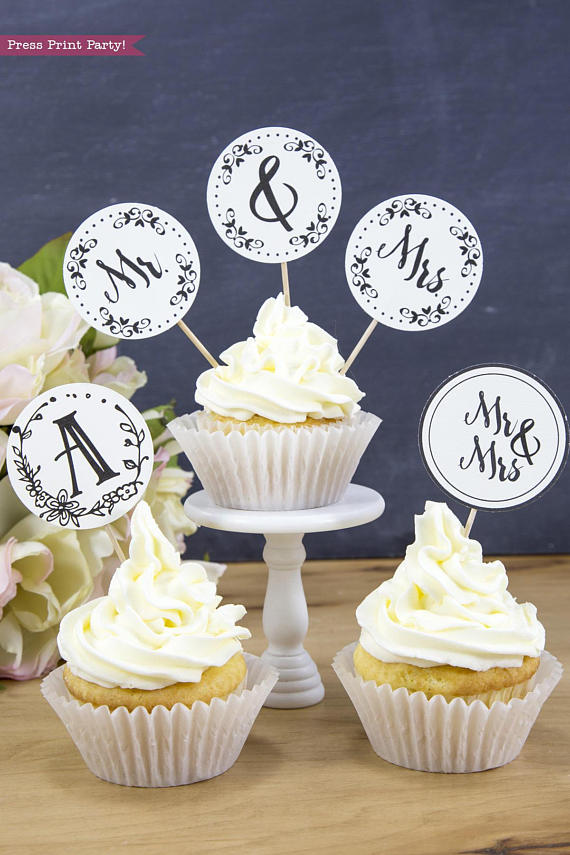 picture relating to Printable Cupcakes Toppers called Rustic Marriage Cake Toppers Printable