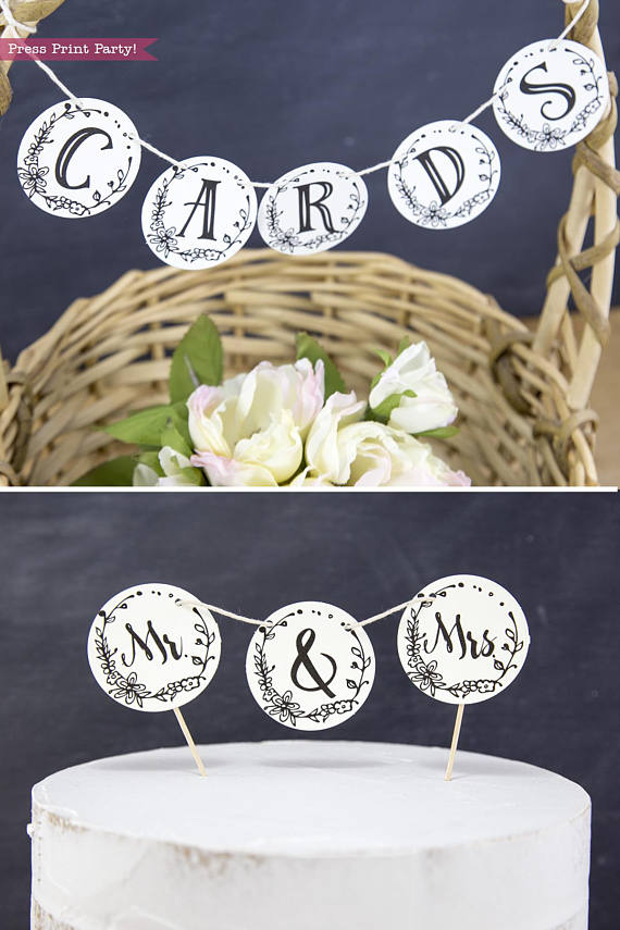 Rustic Wedding Cake Toppers Printable