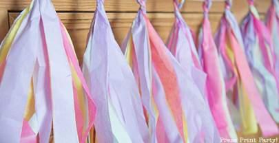 Rainbow Tissue Paper Tassel Garland DIY