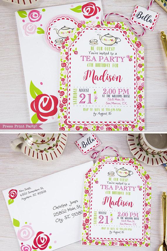 Tea Party Invitation Printable - Press Print Party