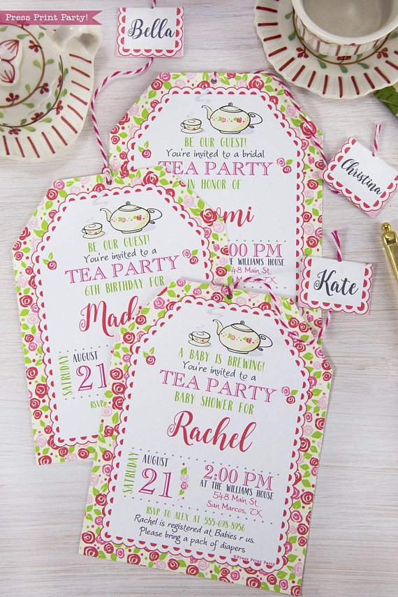 tea party invitation printable press print party