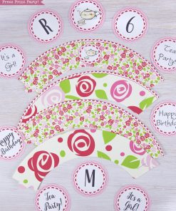 Tea Party Cupcake Toppers and Cupcake Wrappers Printables, Tea Party Cupcake wraps