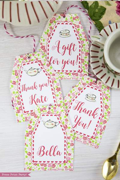 Tea Party Favor Tags Printables, Thank You Tags