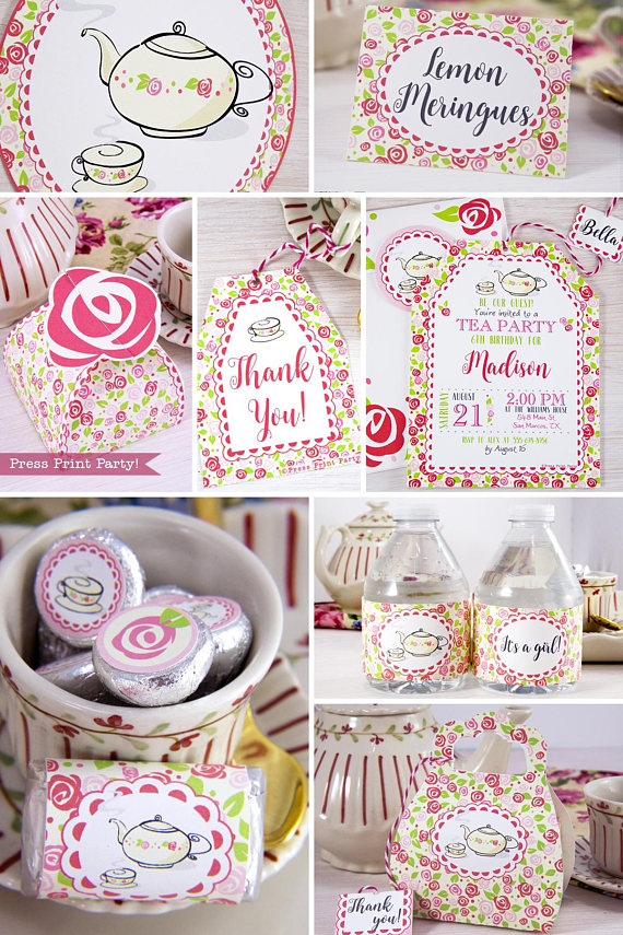 image about Printable Party Decorations called Tea Social gathering Printable Mounted