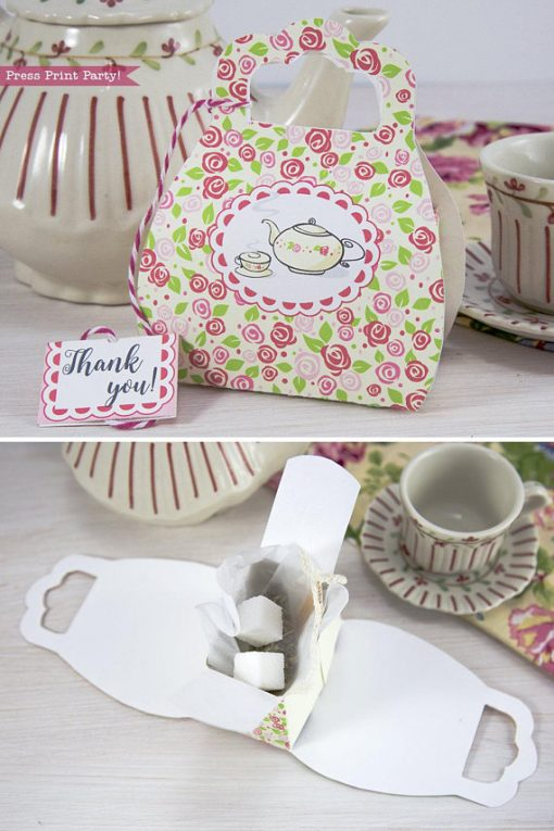 Tea Party Purse Favor Box Printable, Tea Party Favor Box