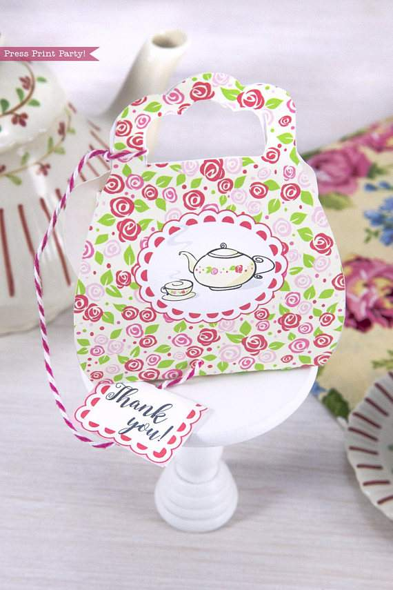 Tea Party Purse Favor Box Printable, Tea Party Favor Box