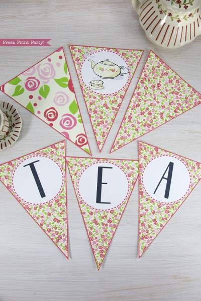 Tea Party Triangle Banner Printable, Tea Party Bunting