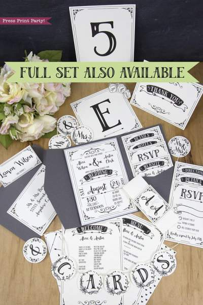 Wedding Invitation Template Printable Set, Wedding Invitation Suite, full set also available