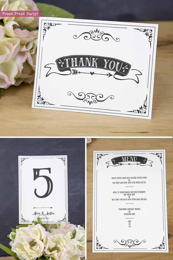 Wedding Invitation Template Printable Set, Wedding Invitation Suite, Thank you note, table numbers and menu card
