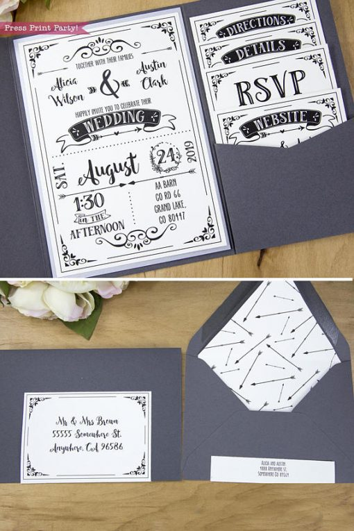 Wedding Invitation Template Printable Set, Wedding Invitation Suite. Open invitation with pockets and envelope insert with arrows.