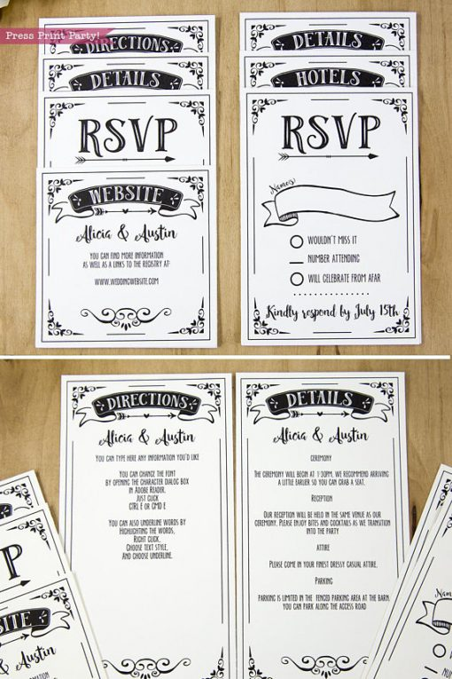Wedding Invitation Template Printable Set, Wedding Invitation Suite, rsvp cards and insert cards for pocket