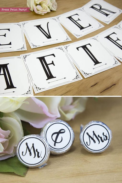 wedding banner and mr and mrs kisses labels