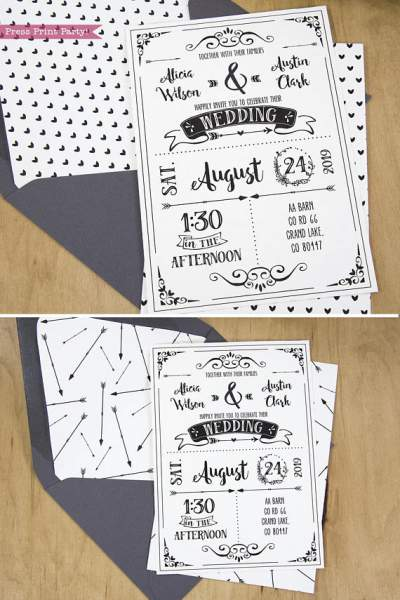 Wedding Invitation Template Printable Set, Wedding Invitation Suite, with envelope insert wth arrows and hearts