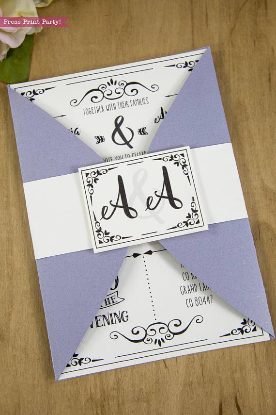 Wedding Invitation Template Printable Set, Wedding Invitation Suite. Close invitation with seal