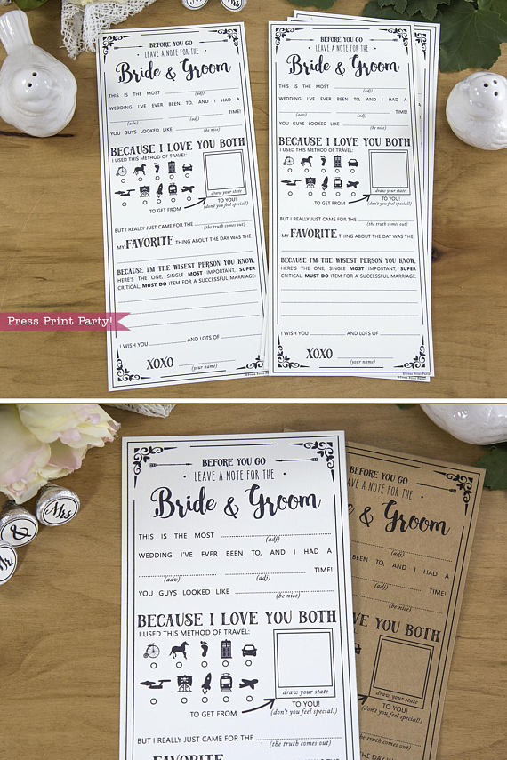 wedding mad libs advice cards with funny answers