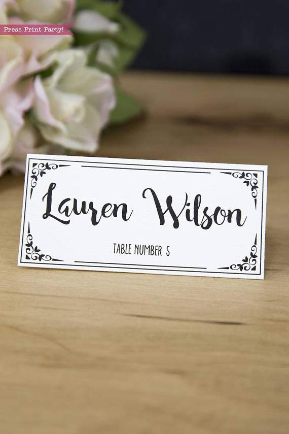 Wedding place card with table numbers