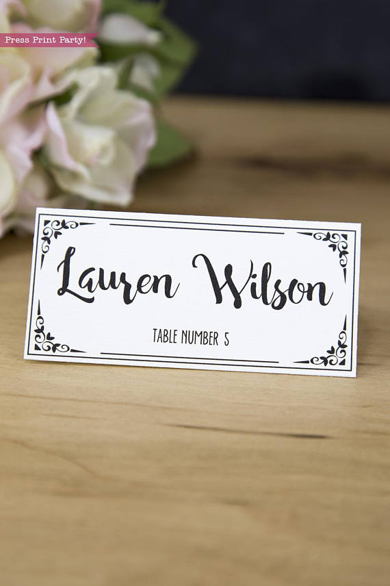 wedding place card with table numbers - Printed Wedding Place Cards