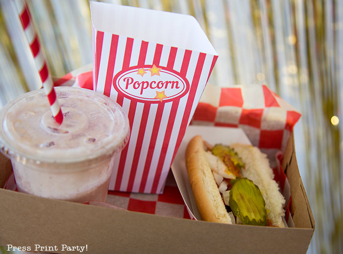 popcorn box with hotdog and shake.Printables by Press Print Party!