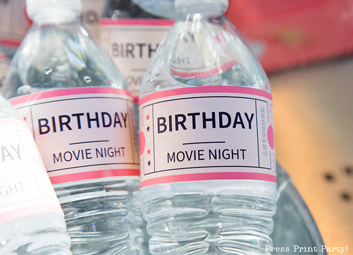 Water bottle wraps that look like a movie ticket - Printables by Press Print Party!
