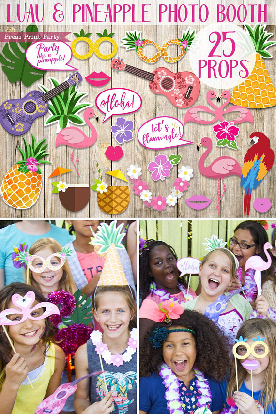 25 pineapple, luau, and flamingo photo booth props