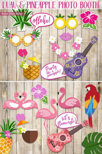 25 pineapple, luau, and flamingo photo booth props