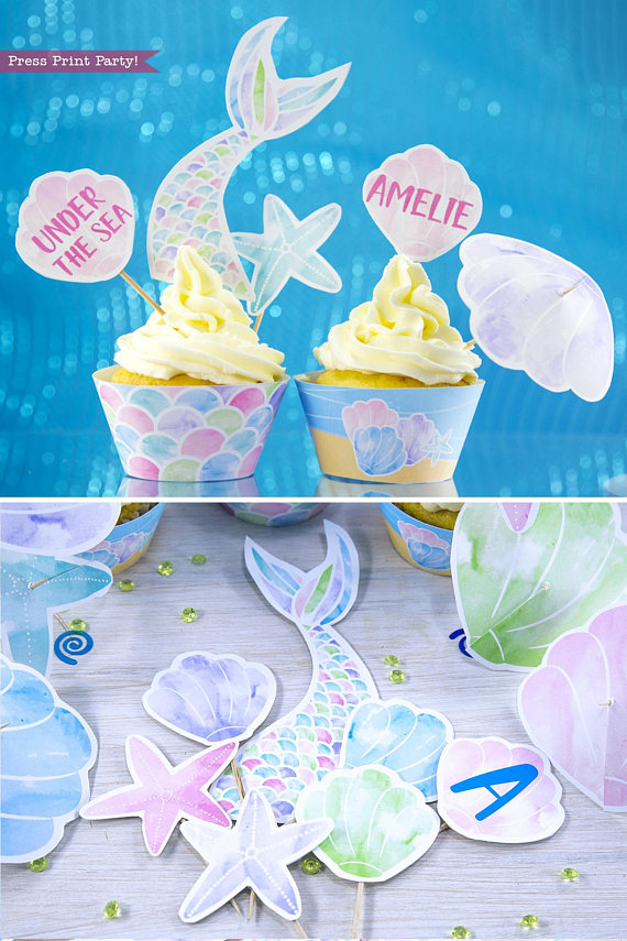 photo about Printable Cupcakes Toppers known as Mermaid Cupcake Toppers Wrappers Printable