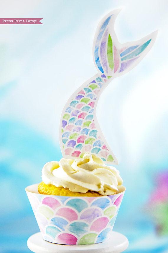 Mermaid Cupcake Toppers & Wrappers Printable Kit - Press ...