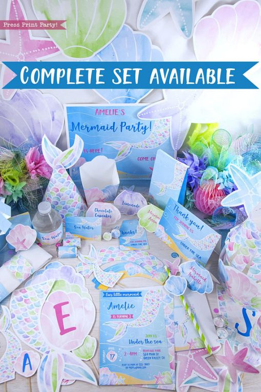 Complete mermaid printable bundle with everything you need for a mermaid party. Invitation to thank you note. Printables by Press Print Party!
