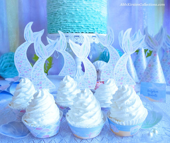 Mermaid cupcakes with mermaid tail wrappers. Printables by Press Print Party!