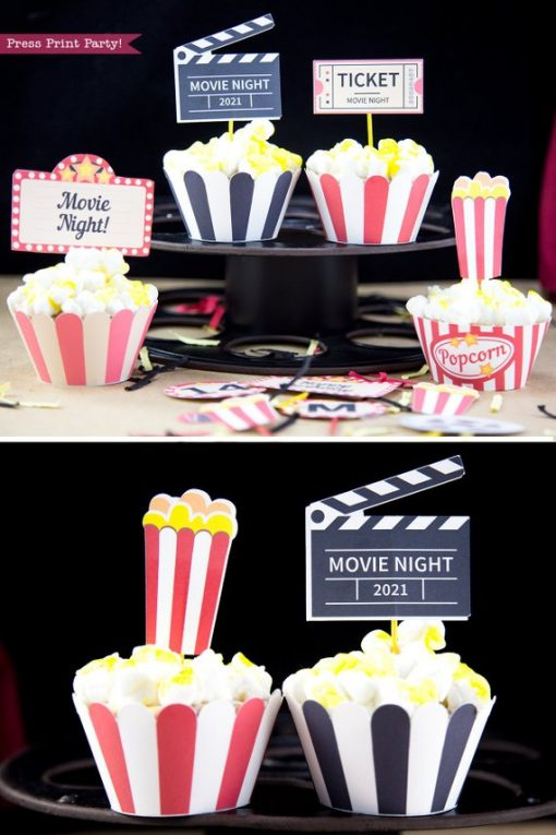 4 movie night cupcakes. 4 printable wrappers. Popcorn box cupcake toppers, movie reel, clapper, marquee.