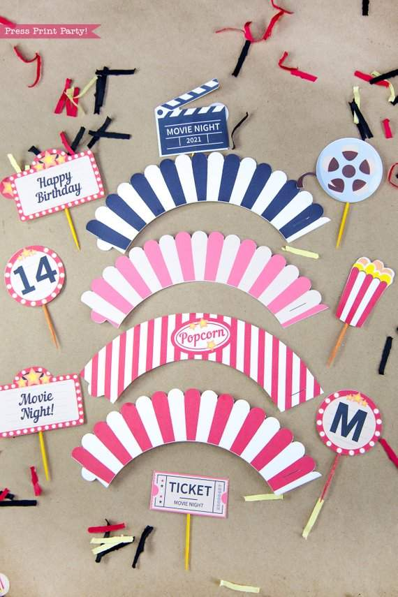Movie Night Cupcate toppers. Movie marquee, popcorn box, clapper, ticket and round toppers with letters and numbers. Press Print Party!