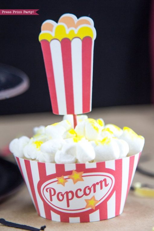 Movie night popcorn cupcake with popcorn box wrapper and topper. Printables by Press Print Party!