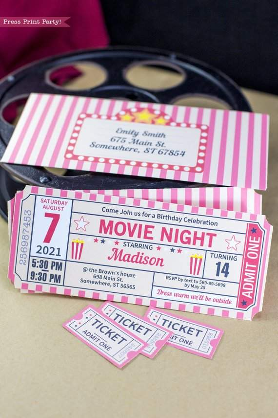Movie Night Invitation Printable Ticket Stub Vintage Press