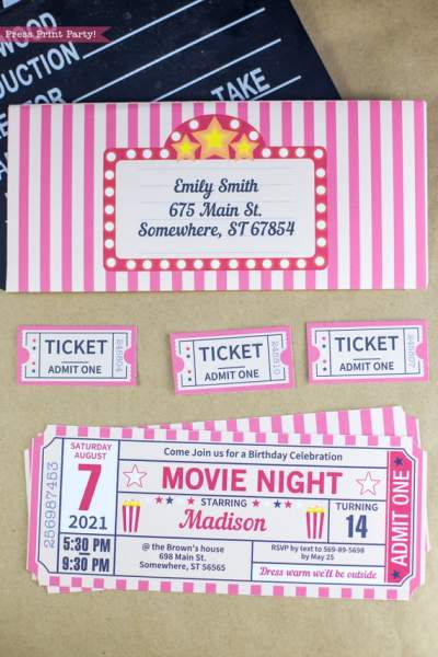 movie night ticket stub invitation with individual tickets and a printable envelope. Press Print Party!