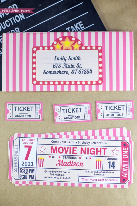 graphic regarding Tickets Printable called Online video Night time Invitation Printable Pink, Ticket Stub