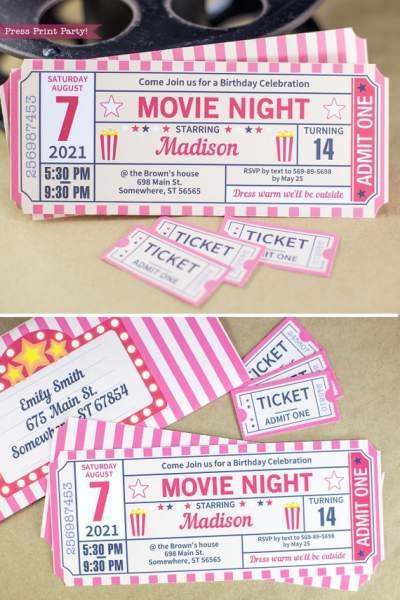 movie night invitation printable  ticket stub  vintage