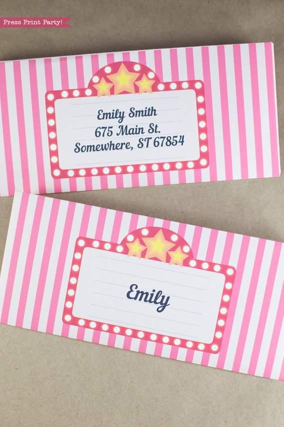 movie night invitation envelope printables w address labels