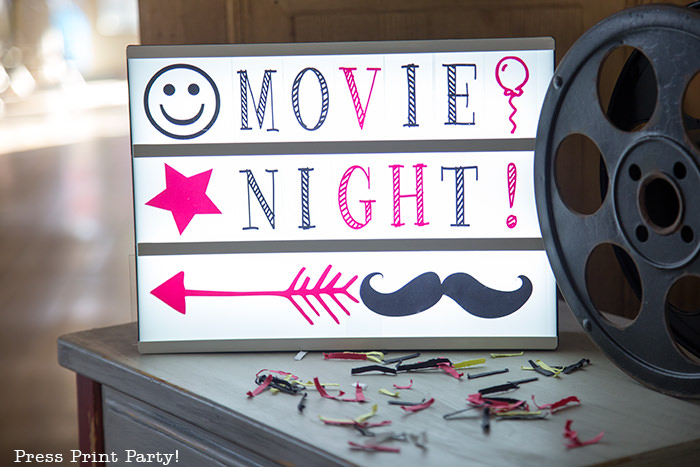 Movie Night lit letters. Press Print Party!