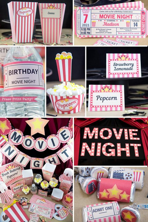 Movie Night printables, popcorn box, ticket invitation, water bottle wrap, popcorn cupcake, place cards, banner, marquee letters and kiss labels