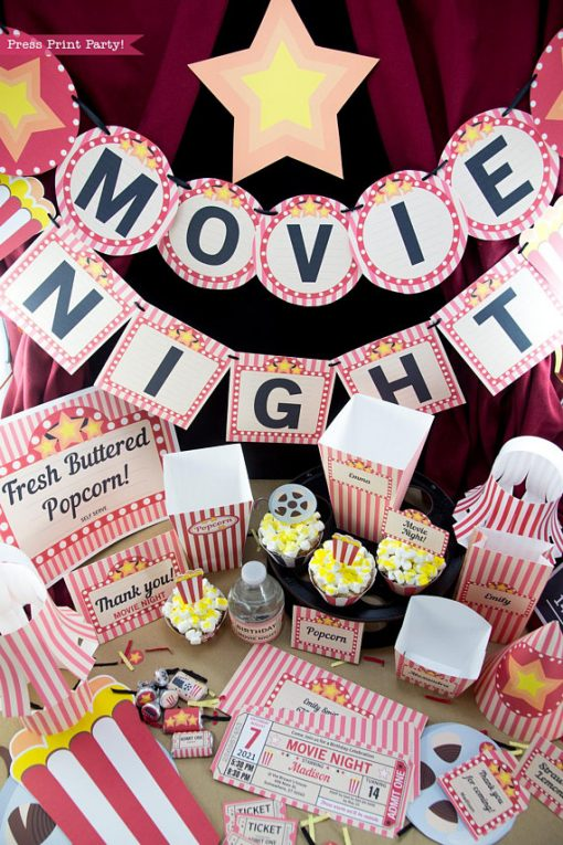 movie night printables full set with banner, popcorn boxes, ticket invitation, cupcakes, sign, hat and more