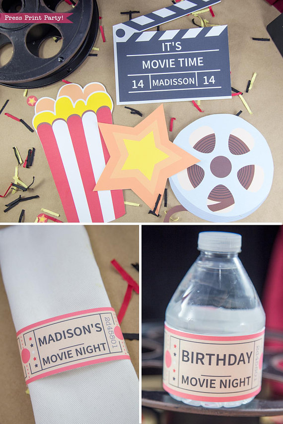 Movie night decorations. popcorn box, star, movie reel. napkin ring and water bottle label- Press Print Party!
