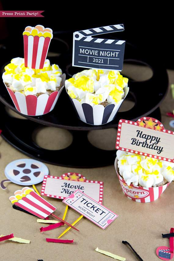 Movie Night Popcorn Cupcakes. Wrappers and toppers. red and white, black and white. Clapper, movie reel and marquee. Press Print Party!
