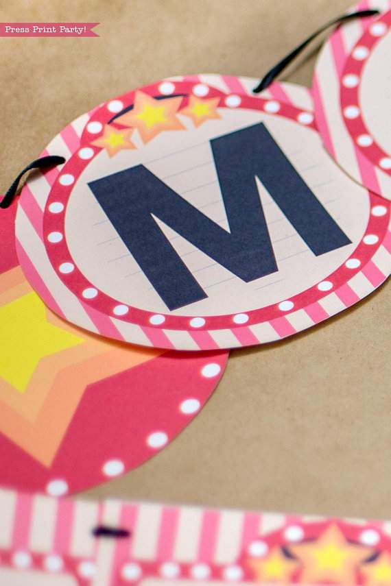 Movie Night Banner printable close up with marquee and stars - Press Print Party!